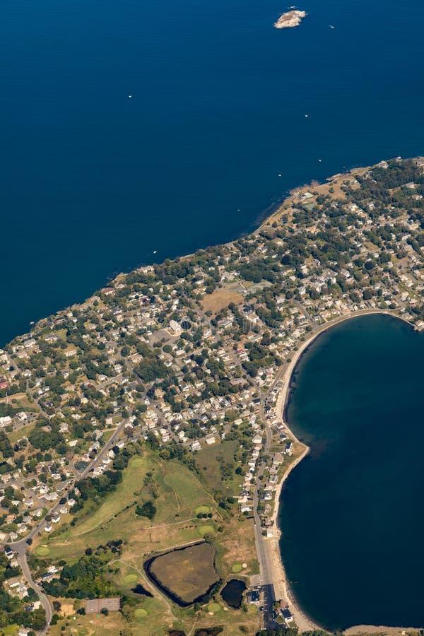 Aerial view of Nahant island near Boston, Massachussets royalty free stock photos