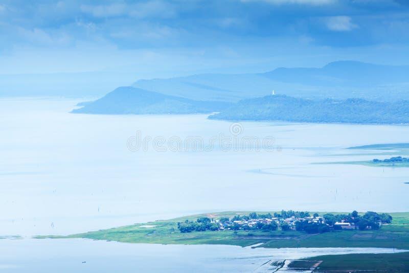 Aerial view of Nam Phong lake village on rainy morning royalty free stock images