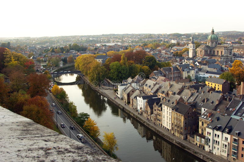Aerial view of Namur, Belgium, Europe. Aerial view of city of Namur in Belgium. The picture is taken from city`s famous citadel stock photography