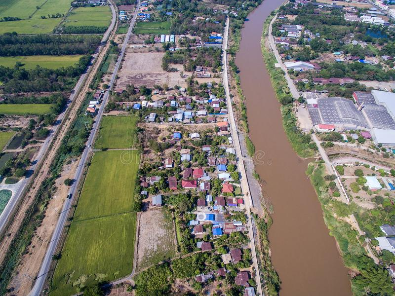 Aerial view of Nan river and town in Phichit, Thailand. Aerial view of Nan river and small town in Phichit province, Thailand royalty free stock images