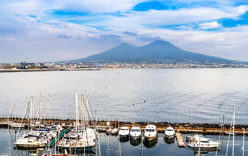 Aerial view of Naples with Mount Vesuvius. The bay of Naples, Italy. Stunning view from the Posillipo hill vith Vesuvius vulcano in background royalty free stock images