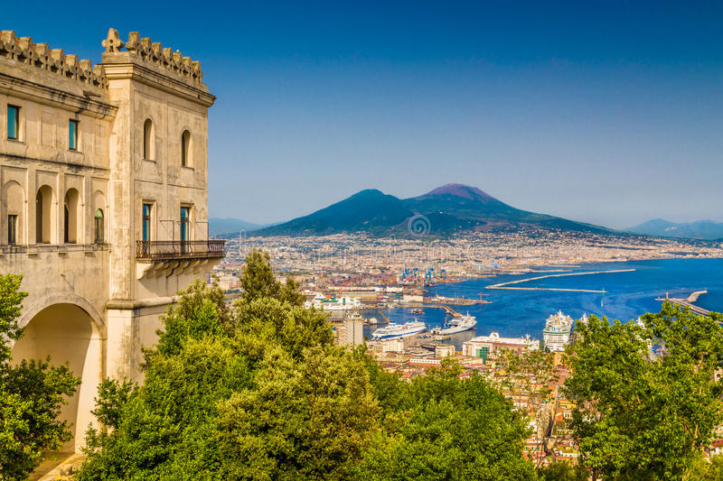Aerial view of Naples with Mt Vesuvius, Campania, Italy. Scenic picture-postcard view of the city of Naples (Napoli) with famous Mount Vesuvius in the background stock photo