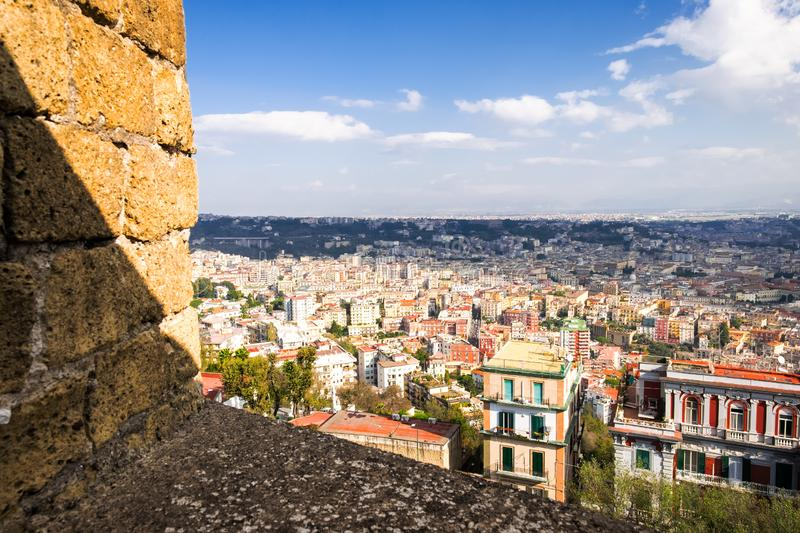 Aerial view of Napoli from Castle Sant Elmo, Campania, Italy royalty free stock photography