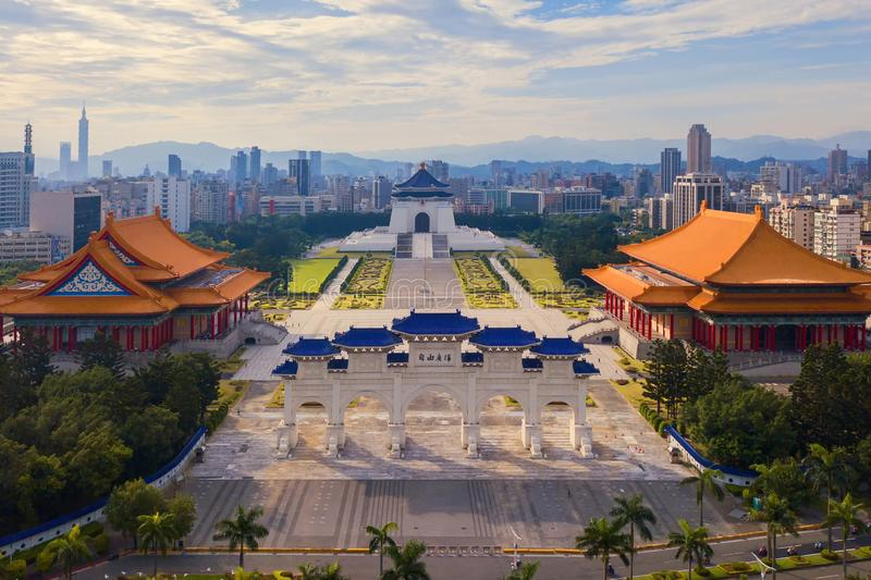 Aerial view of National Chiang Kai shek Memorial Hall in Taipei Downtown, Taiwan. Financial district and business centers in smart stock images