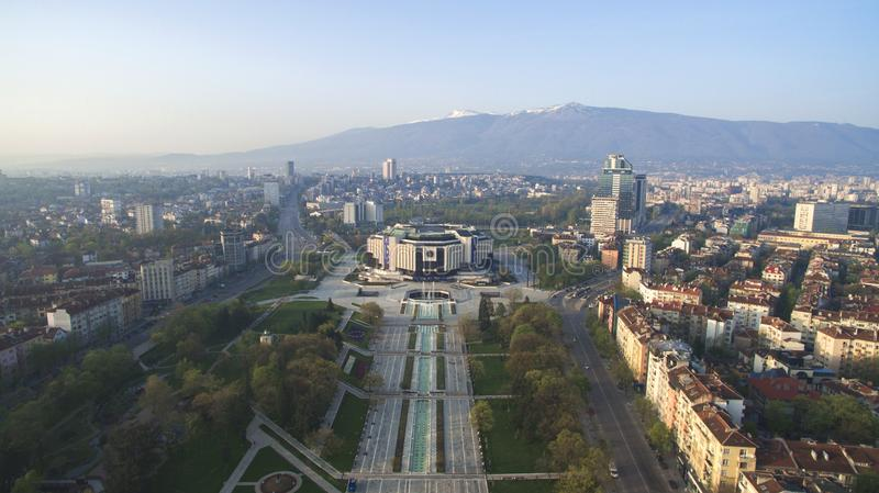 National Palace of Culture NDK. Aerial view of National Palace of Culture NDK, downtown Sofia, Bulgaria, at sunrise royalty free stock photo