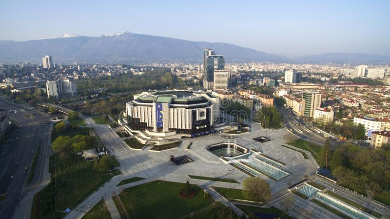 Palace of Culture NDK. Aerial view of National Palace of Culture NDK, downtown Sofia, Bulgaria, at sunrise stock photography