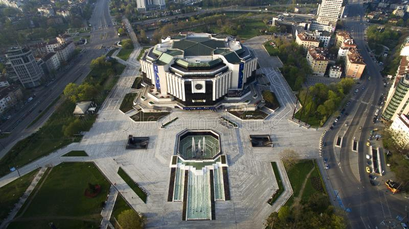 Aerial view of National Palace of Culture NDK, Sofia, Bulgaria. At sunrise stock image