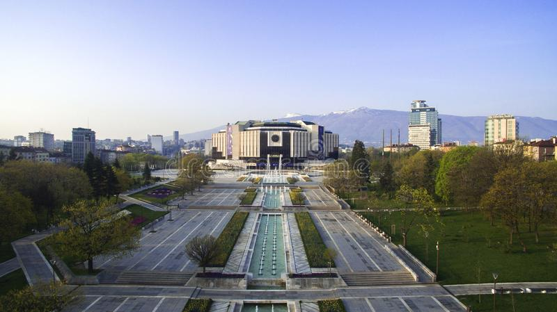 Aerial view of National Palace of Culture NDK, Sofia, Bulgaria. At sunrise stock images