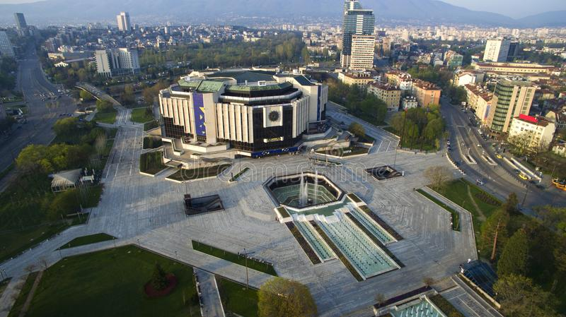 Aerial view of National Palace of Culture NDK, Sofia, Bulgaria. At sunrise stock photos