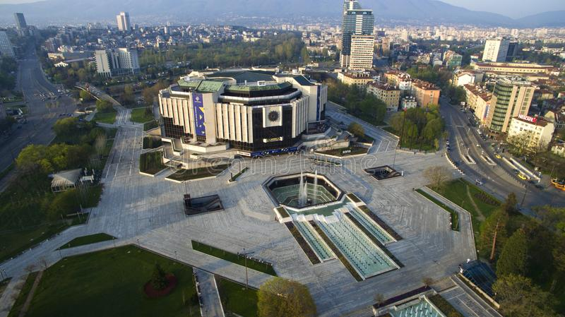 Aerial view of National Palace of Culture NDK, Sofia, Bulgaria. Aerial view of National Palace of Culture NDK, at sunrise in Sofia downtown royalty free stock photos