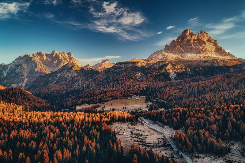 Aerial view of National Park Tre Cime di Lavaredo. Location place Auronzo, Misurina, Dolomiti alps, South Tyrol, Italy, Europe royalty free stock image