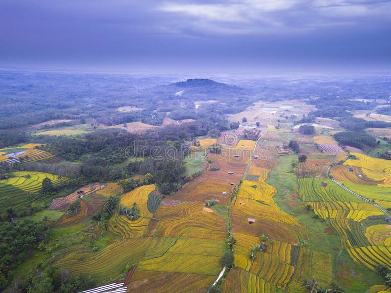 Aerial View natural beauty of the mountain with dense forests and green rice fields, morning sun with incredible sky i stock photos
