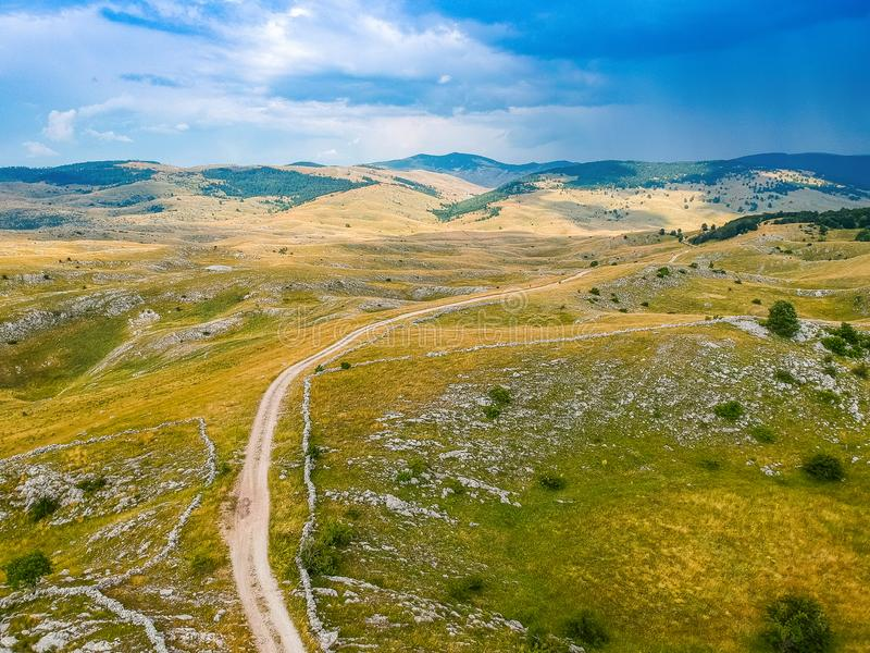 Aerial view of nature around village Vrdolje on the way to Lukomir in Bosnia and Herzegovina.  royalty free stock images