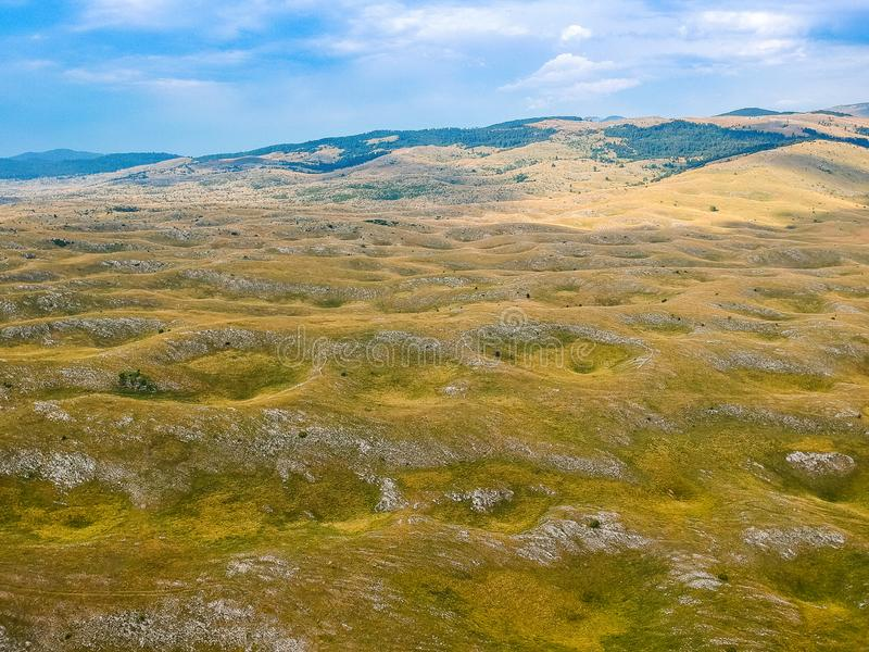 Aerial view of nature around village Vrdolje on the way to Lukomir in Bosnia and Herzegovina.  royalty free stock photography