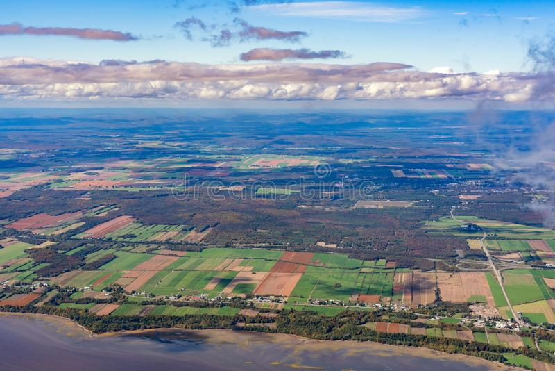 Aerial view of Neuville area with fall color. At Canada stock images