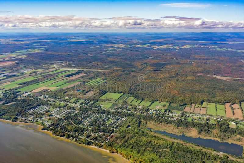 Aerial view of Neuville area with fall color. At Canada royalty free stock image