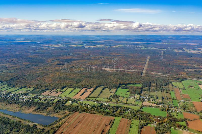Aerial view of Neuville area with fall color. At Canada stock photos