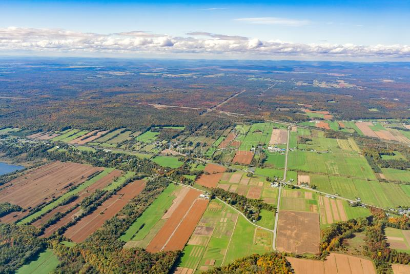 Aerial view of Neuville area with fall color. At Canada stock image