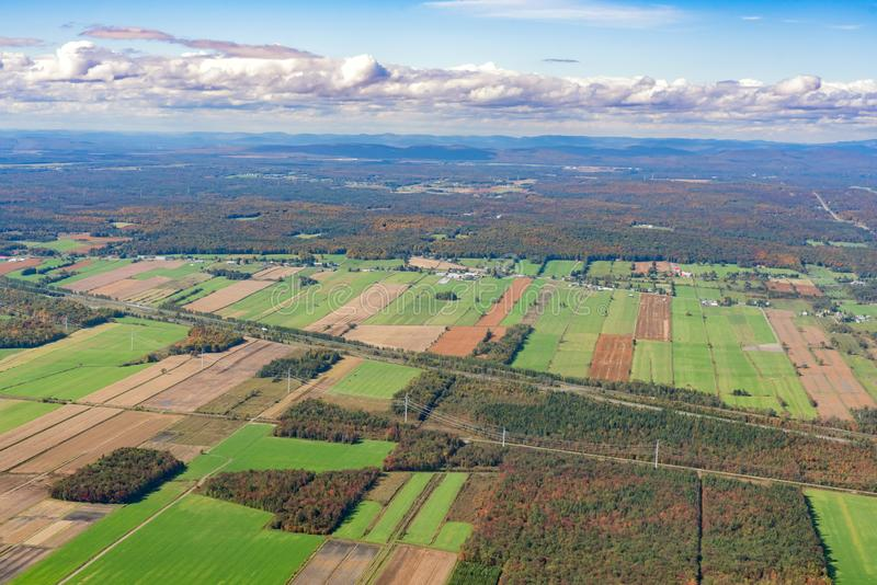 Aerial view of Neuville area with fall color. At Canada stock photo