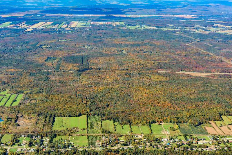 Aerial view of Neuville area with fall color. At Canada stock photography