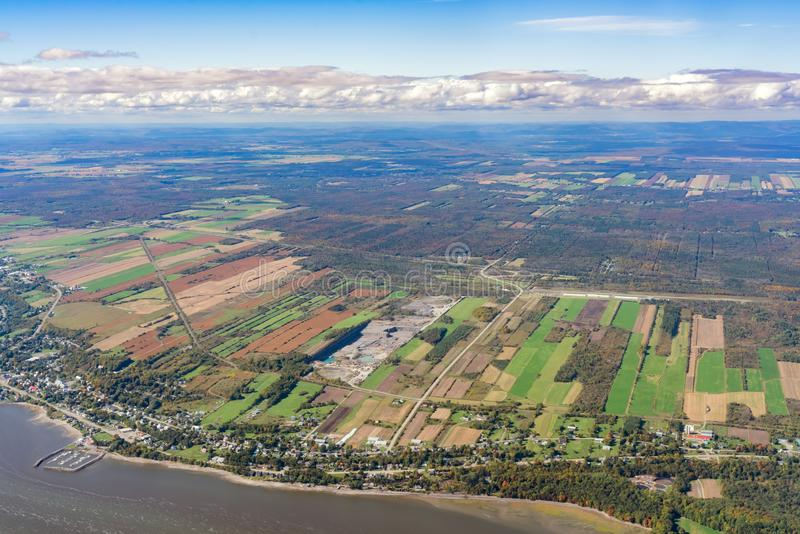 Aerial view of Neuville, port area with fall color. Aerial view of Neuville area, port with fall color at Canada royalty free stock photography
