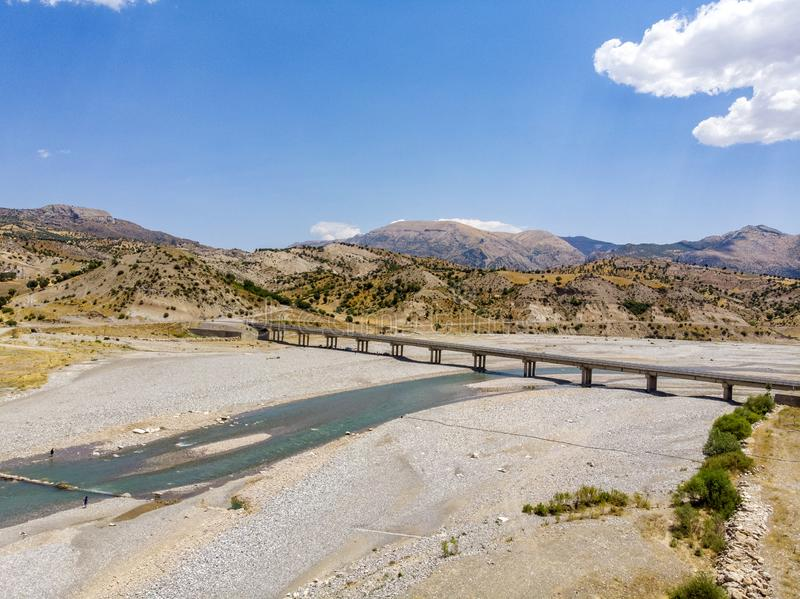Aerial view of the new bridge, Cendere Koprusu and Cendere river. Road leading to Nemrut Dagi, Turkey stock images