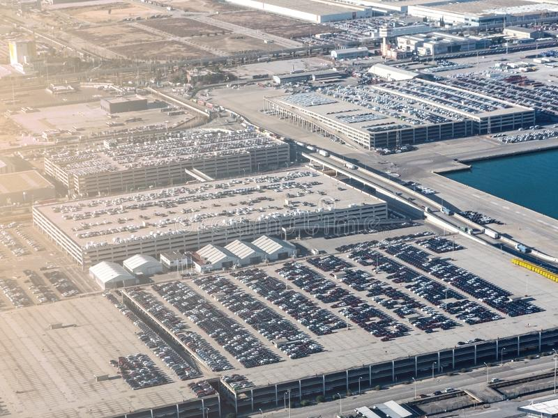 Aerial view new cars lined up royalty free stock photos
