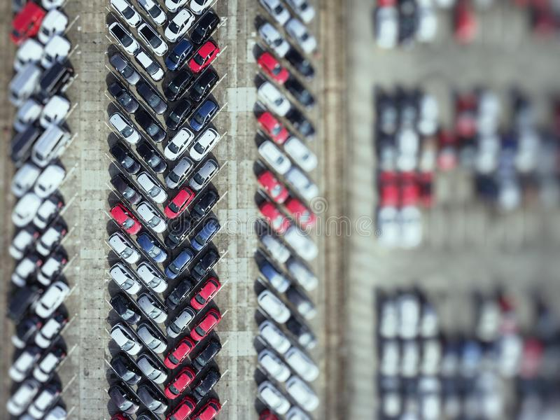Aerial view new cars lined up in the port for import and export stock image