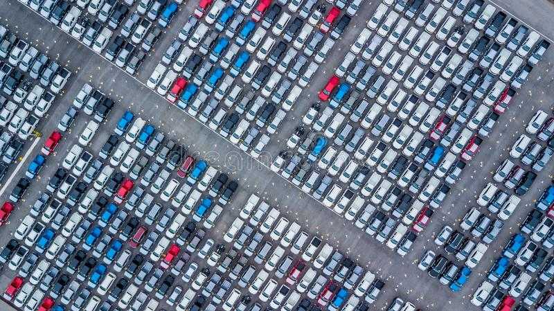 Aerial view new cars lined up in the port for import and export, Top view of new cars lined up outside an automobile factory for royalty free stock photo