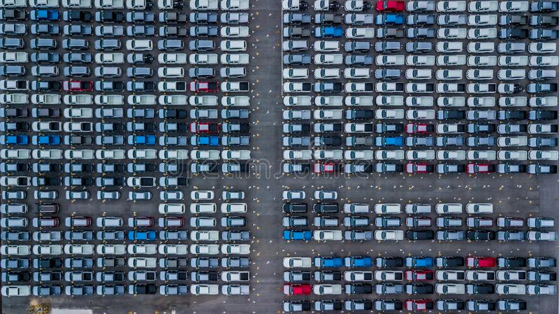 Aerial view new cars lined up in the port for import and export, Top view of new cars lined up outside an automobile factory for royalty free stock photos