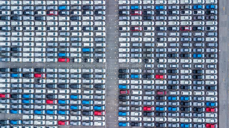 Aerial view new cars lined up in the port for import and export, Top view of new cars lined up outside an automobile factory for stock image