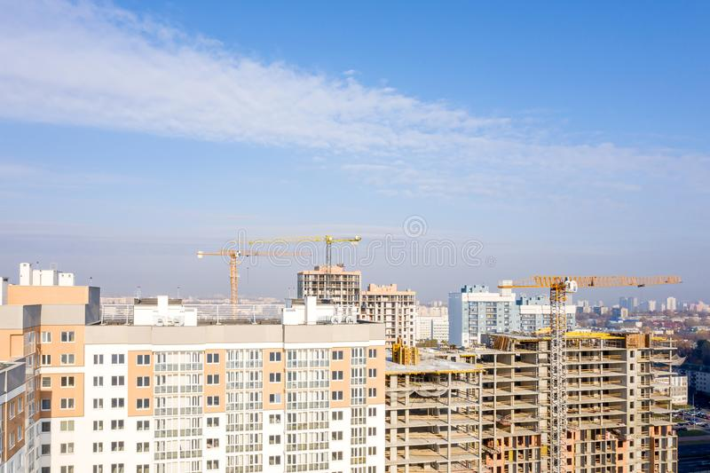 Aerial view of new city residential area construction site stock photos