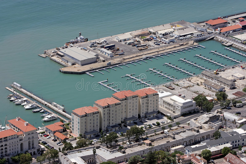 Aerial view of new harbour in Gibraltar, Europe royalty free stock photography