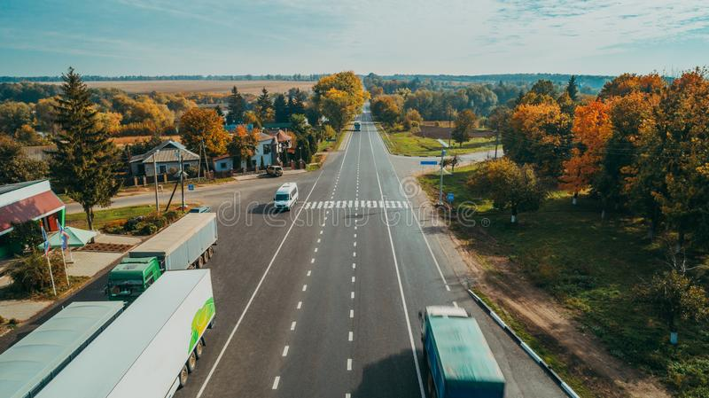 Aerial view of the new road in Ukraine stock photo