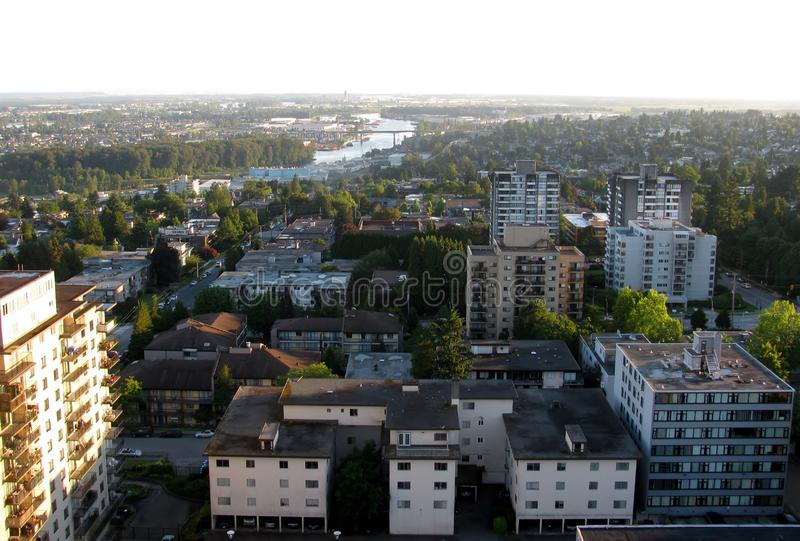 Aerial view of New Westminster, BC, Canada. Aerial view of New Westminster at sunset, British Columbia, Canada stock image