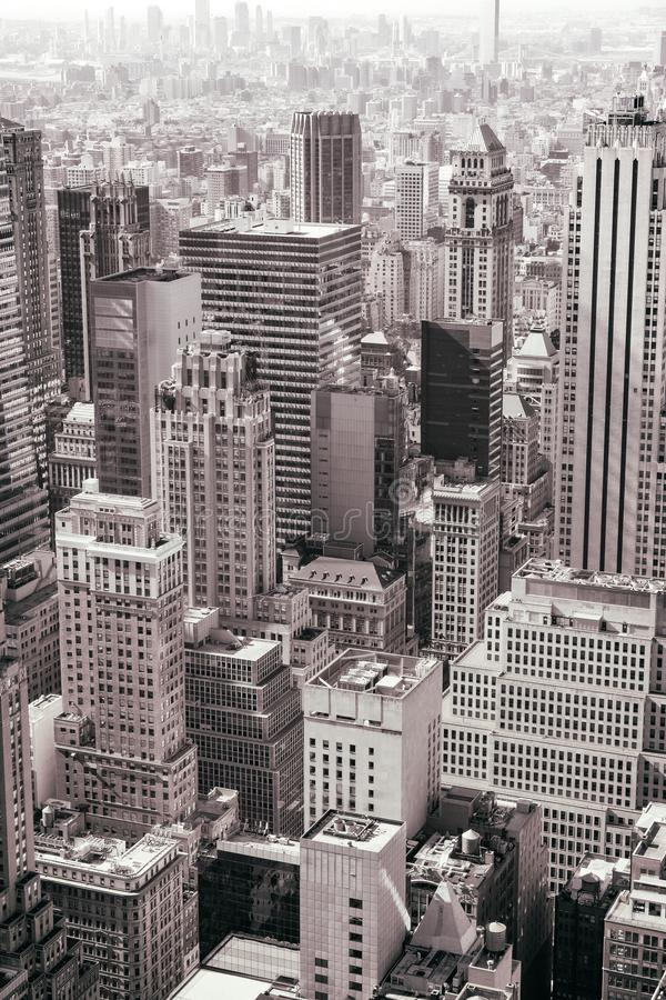 Aerial view of New York City midtown skyline in black and white. USA stock photo