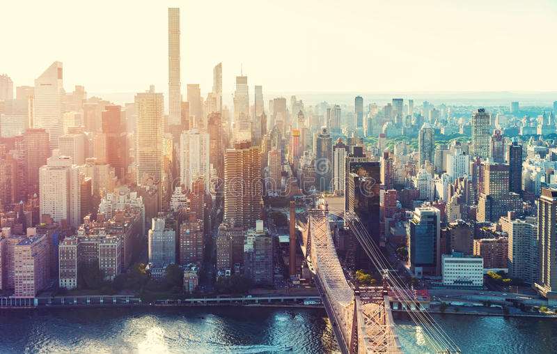 Aerial view of the New York City skyline royalty free stock photo
