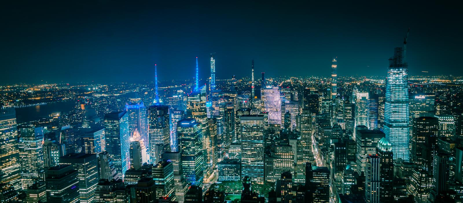 Aerial view of New York Manhattan at night stock photos