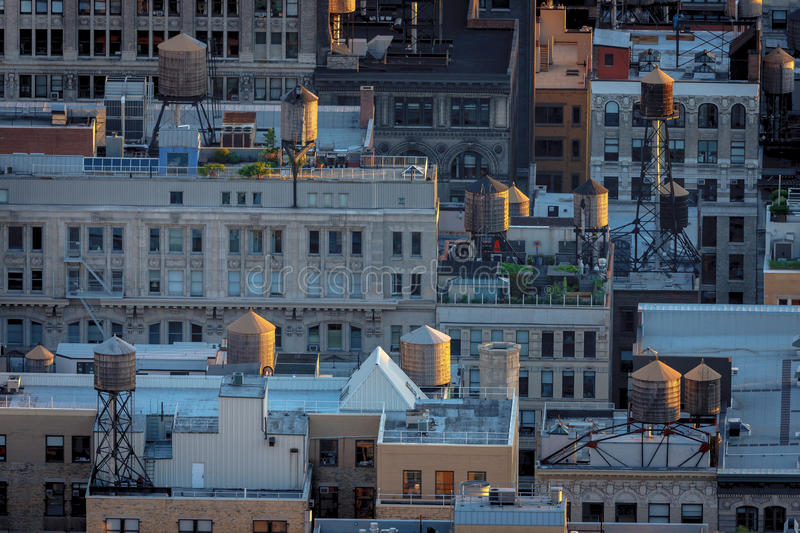 Aerial view of New York rooftops and water towers stock photos