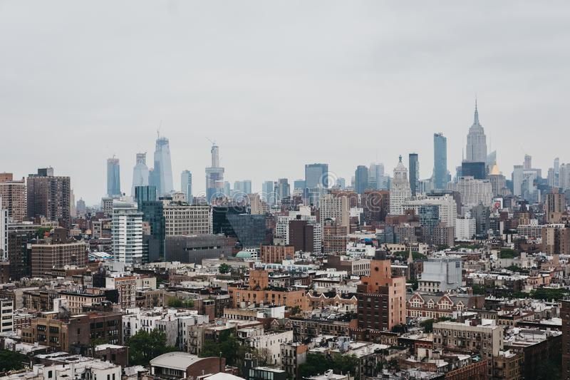 Aerial view of New York skyline and attractions, USA royalty free stock photo