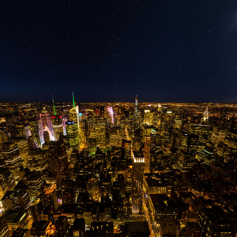 Aerial view of New York with starry sky stock image