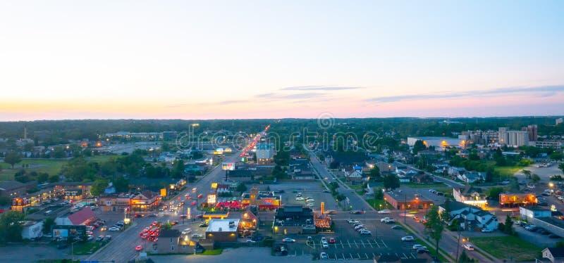 Aerial view of Niagara Falls City at sun set. The aerial view of Niagara Falls City at sun set landscape stock photos