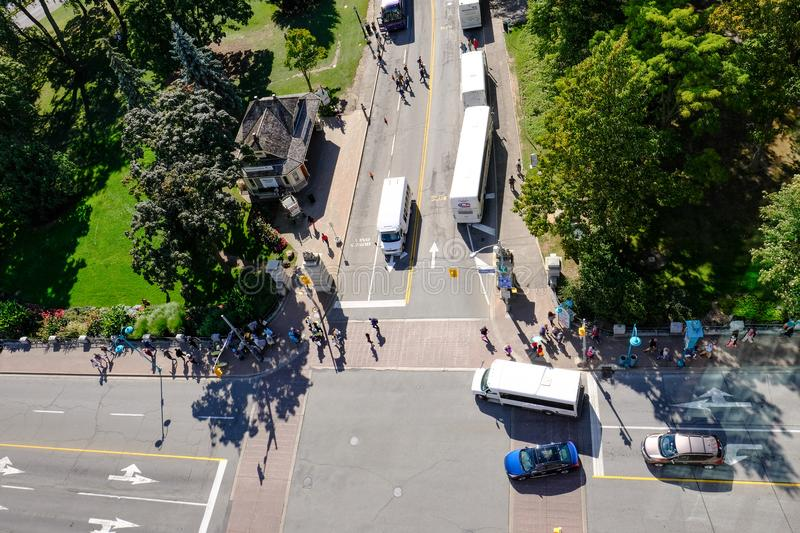 Aerial view of Niagara, in Ontario, at a major road junction. stock photo