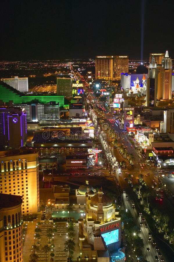 Aerial view at night from Eiffel Tower of Las Vegas Strip and neon lights, Las Vegas, NV royalty free stock images