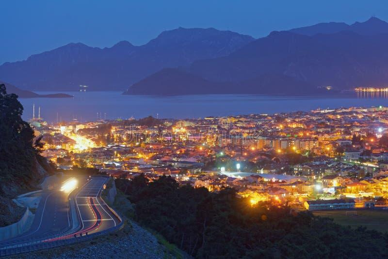 Aerial view of night Marmaris, Turkey stock photo