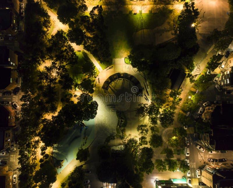 Aerial view a night park South Korea royalty free stock photos