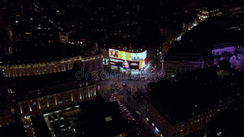 Aerial View at Night of the Piccadilly Circus in London royalty free stock photos