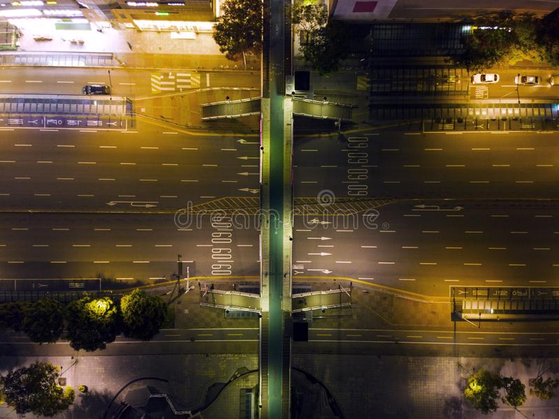 Aerial view a night road traffic royalty free stock photos