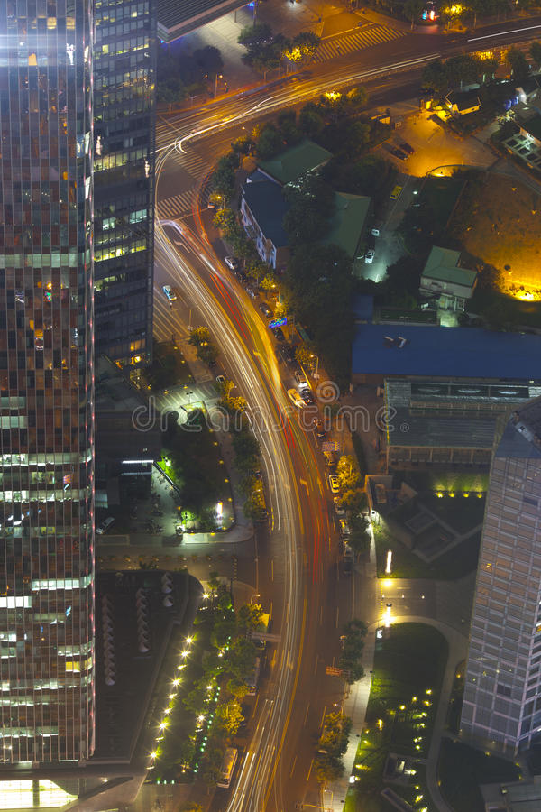 Aerial View Of Night Shanghai Transportation Royalty Free Stock Photos