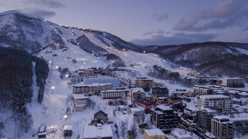 Aerial view of Niseko ski village royalty free stock photography